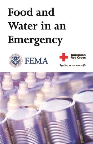 FEMA picture of canned food and bottled water